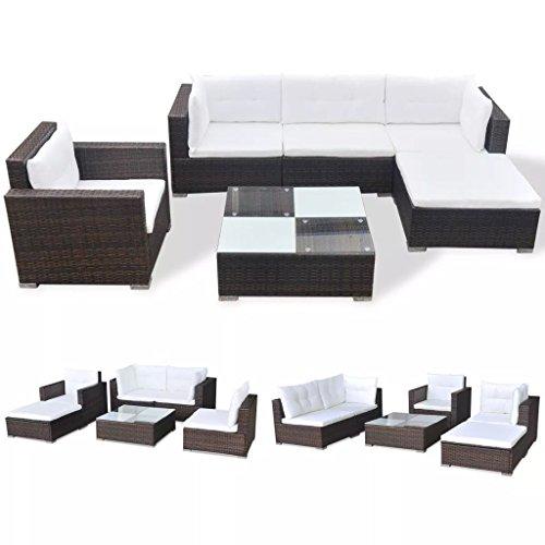 vidaXL Gartenmöbel 6-TLG. mit Auflagen Sitzgruppe Sitzgarnitur Sofa Lounge Gartensofa Gartenset Rattanmöbel Sofagarnitur Poly Rattan Braun