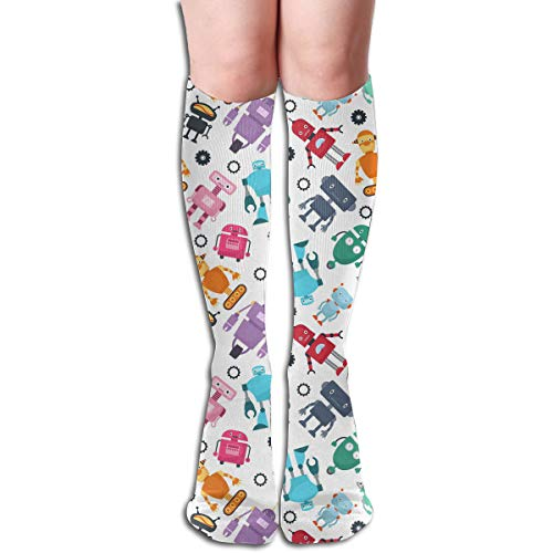 Compression Socks Cute Robots For Women And Men - Best Medical,for Running, Athletic, Varicose Veins, Travel