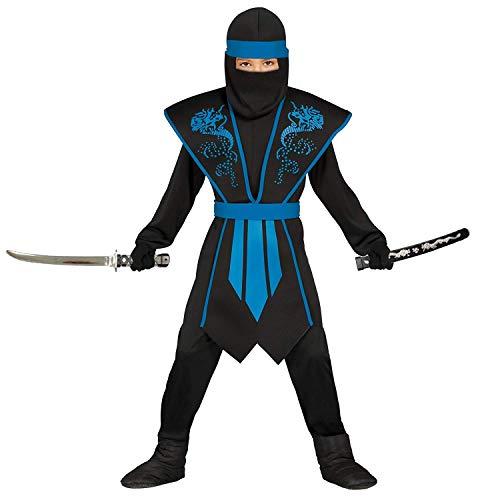 Magicoo Ninja Kostüm für Jungen Kinder blau schwarz mit Rüstung Gr 110 bis 146 - Ninja Halloween Fasching Kostüm (128/134)