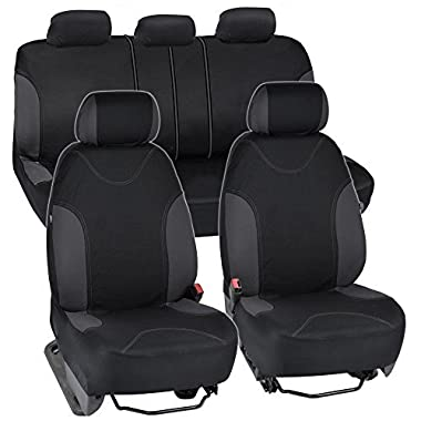 BDK OS-334-CC Charcoal Trim Black Car Seat Covers Full 9pc Set - Sleek & Stylish - Split Option Bench 5 Headrests Front & Rear Bench