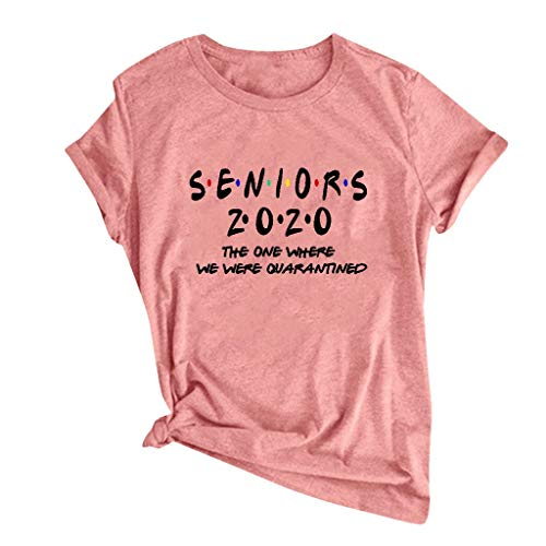 Shirts with Sayings for Women Short Sleeve Graphic Tops Seniors 2020 The One Where They were Quarantined T-Shirt Tees Orange