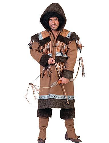 Pierro´s Kostüm Eskimo Sakari Eskimo Herrenkostüm Jacke mit Kapuze Stulpen Größe 48 50 52 54 56 58 für Karneval, Fasching, Halloween, Motto Party / Nationen, Nordländer