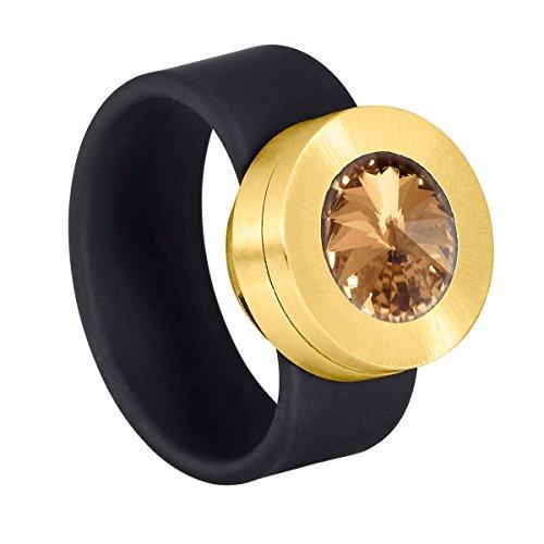 Heideman Ring Damen Colori Gold schwarz aus Edelstahl Gold farbend und schwarz Damenring für Frauen mit Swarovski Stein Kristall Bernstein braun