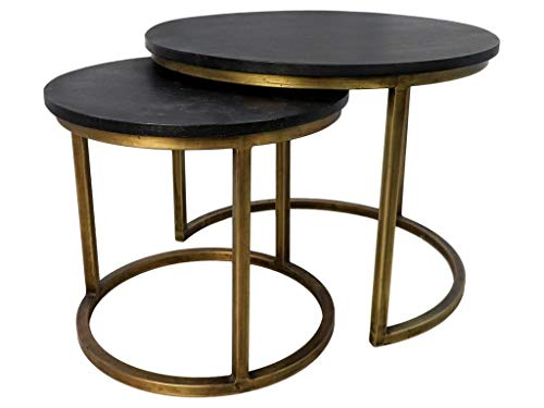 HSM Collection Salontafel Set Finley Mango IJzer Black Wash/antiek goud (set van 2)