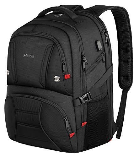 Reiserucksack, extra groß, 43,9 cm, robuster Laptop-Rucksack mit USB-Ladeanschluss, Anti-Diebstahl, wasserabweisend, Business-Rucksack für Herren/Damen, passt für 17-Zoll-Notebooks, Schwarz