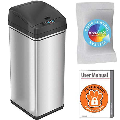 iTouchless 13 Gallon Pet-Proof Sensor Trash Can with AbsorbX Odor Filter Kitchen Garbage Bin...