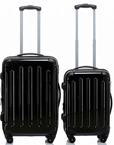 TOP-Preis - Hartschalen-Trolleyset 2-teilig 65 + 55 cm, 4 Rollen, Dehnfalte, Farbe: schwarz, Trolley - Koffer - Set