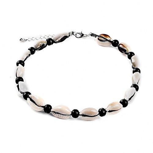 1Stück natur schlicht Samt Seil Perlen Natur einfach Shell Halskette Hawaii Bikini Beach Choker für Mädchen und Damen, Muschel, Schwarz, 12 g