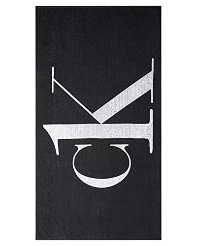 Calvin Klein de los Hombres Toalla de Playa con Logotipo CK One, Negro, One Size