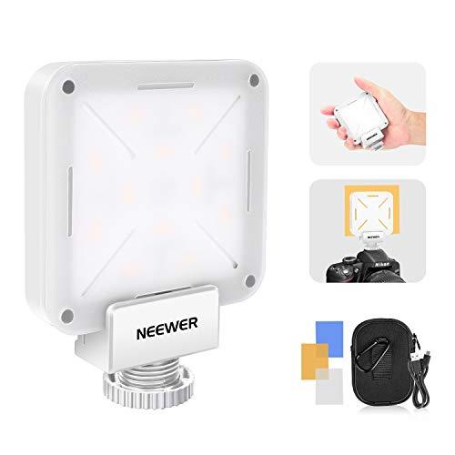 Neewer 12 SMD LED Mini Lampadina su Fotocamera Video, Illuminazione LED CRI 95+ con Batteria Integrata/Caricatore USB/Adattatore Hot Shoe Compatibile con Canon Nikon Sony DSLR ecc (BIANCO)