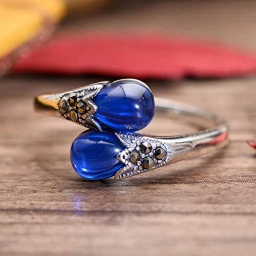 MingXinJia Anillo de Dedo Abierto de Plata Esterlina S925 Plata Esterlina Corindón Azul Sintético Mujer Japonesa Retro Anillo de Dedo Índice de Piedra de Corindón Rojo de Plata Tailandesa Regalos par