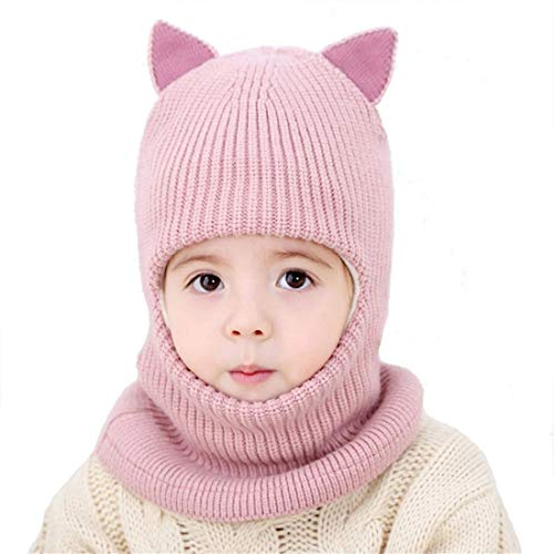 Cat Ear Baby Girls Boys Winter Hat Toddler Knitted Hood Scarf Beanies with Fleece Lining (E)