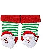 "Socks PUR Erstlings-Rassel-Söckchen ""Weihnachten"" mit rutschhemmendem ABS-Druck 1 Paar (0- ca.12 Monate, rot-grün-Weiss)"