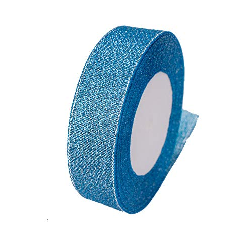 ATRibbons 1 Inch Wide Sparkly Glitter Ribbons,Colorful Silver Metallic Color Ribbons for Gifts Wrapping Home Decoration Wedding Party and DIY Crafts,25 Yards/Roll x 1 Roll (Peacock Blue)