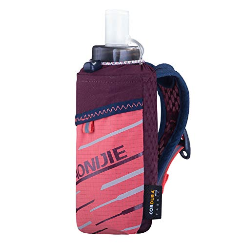 AONIJIE Running Water Bottle Handheld Small with 14oz Soft Flask, fit 6.8 inches Phones, Grip Free for Marathons, Hiking, Running, Walking and Outdoor Activity (Pink Bag + Bottle)