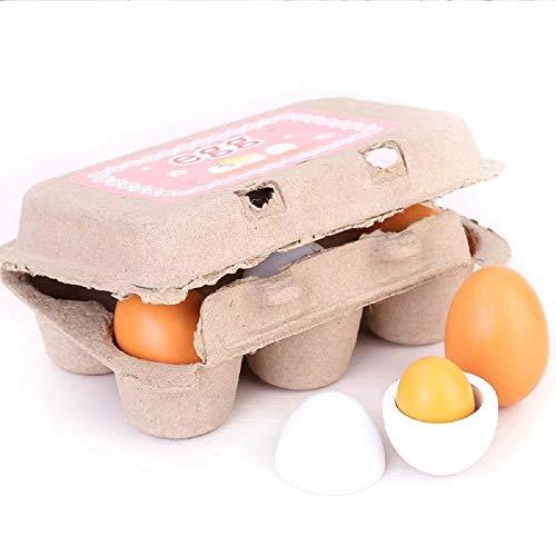 Ycco 6 unids creativo simulación huevos juguetes de madera conjunto kids cocina yolk fingido prender juego madera cocinar huevos juguetes juguetes niños niños niños niñas muchachas Easro Educación tem