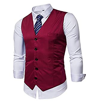AOYOG Men s Business Suit Vests Waistcoat Slim Fit for Suit Or Tuxedo Red Medium