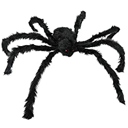 Scary Giant Spider : Vivid red eyes looks real and create bloodcurdling atmosphere, making it look even more creepy in the dim environment. This vivid and realistic spider is ideal for Halloween decoration indoor outdoor, hope you will not scared to ...