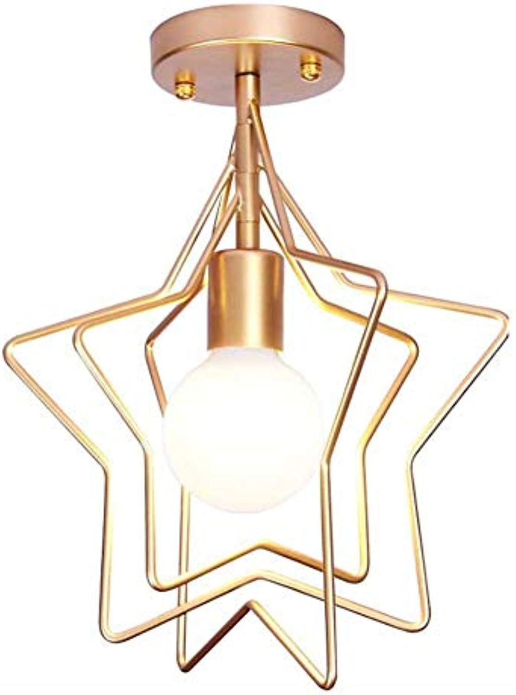 GAO Deckenleuchte Stern aus fünf Eisenspitzen, geschmiedet, nordisch Gold