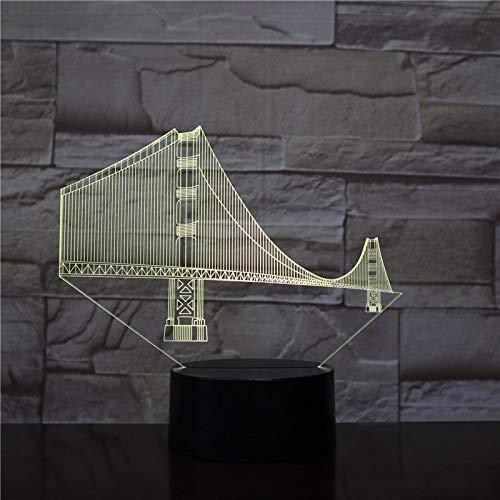 Luz Nocturna 3D Puente De Puerta De Oro Lámpara De Ilusión Óptica Led Para Niños, 16 Colores De Iluminación Lámpara De Mesa De Noche Para La Decoración Del Partido Presentes De Cumpleaños