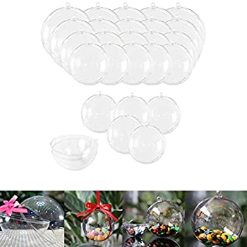 25 Sets Clear Fillable Ornaments Ball in 5 Different Size,DIY Plastic Acrylic Fillable Ball for Party Decor