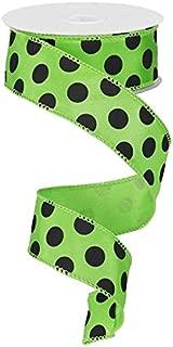 Polka Dot Wired Edge Ribbon - 10 Yards (Lime Green, Black, 1.5