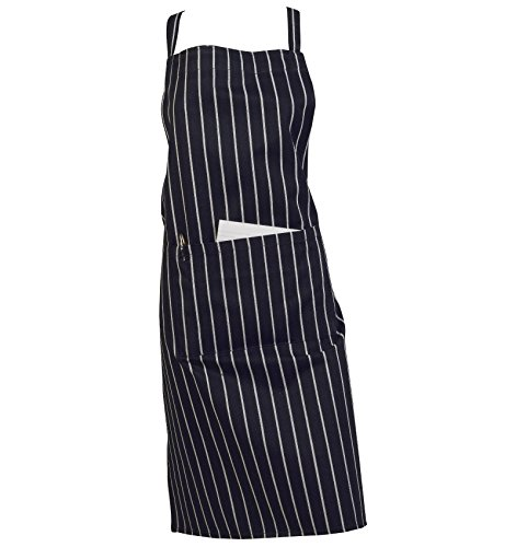 100% Cotton Woven Stripe Butchers Kitchen Cooks Apron with Pocket (Navy Blue)