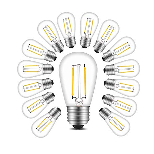 BRTLX S14 LED Edison Filament Bulb E27 2W Warm White 2700K Equivalent to 11W Incandescent for Outdoor String Lights Replacement Bulb Pack of 15 [Energy Class A+]