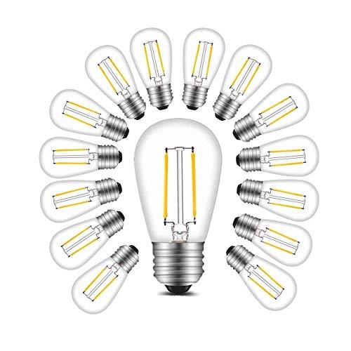 BRTLX S14 E27 LED Glühbirne E27 Edison Filament Lampe 2W Ersetzt 20Watt 200 LM 2700K Warmweiß Glühfaden Birnen 15per Pack Nicht Dimmbar [Energieklasse A+]