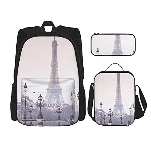 Eiffel Tower Print Rugzak Voor Jongens Tieners Boekentas Reizen Dagrugzak, Lunch Bag En Potlood Case Combinatie