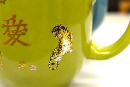 Japanese Kin-makie Sticker +Attoo Two Tigers