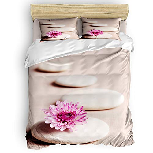 Savannan Bedding Duvet Cover 4 Piece Set Full Size, Curved Zon Stone with Pink Blossom Flowers Warm Lightweight Bedding Set with Zipper Closure, Corner Ties