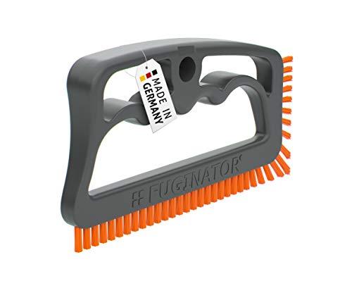 Fuginator® Cepillo para juntas, color gris/naranja, innovación de 100% reciclado, limpieza de juntas en el hogar, patentado y certificado con Blauen Engel