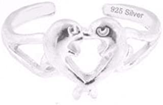 925 Sterling Silver Jewelry, Toe Ring with Two Dolphins Kissing Forming a Heart, Adjustable Fit