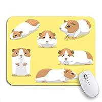 NINEHASA 可愛いマウスパッド 顔かわいいモルモットポーズ漫画齧歯動物立っている愛らしい滑り止めゴムバッキングコンピューターマウスパッドノートブックマウスマット