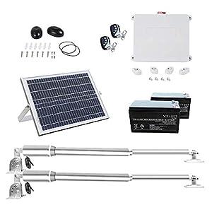 DC HOUSE Abridor de puerta de oscilación eléctrico simple Kit de apertura de puerta automático de alta potencia con energía solar (300 kg) Control remoto Panel solar de 24 V