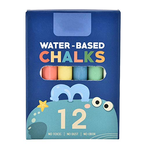 Zerodis Bunte Kreide Set 12pcs ungiftig umweltfreundliche Tafel Waschbar Staubfrei Farbige Durable Kinder Doodle Kreide(Haifisch)