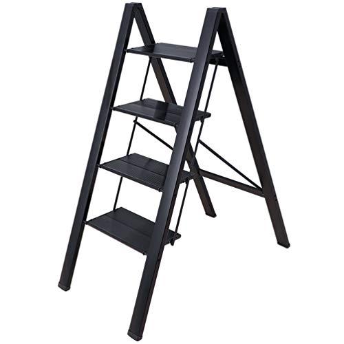 BAOYOUNI Escalera Aluminio Plegable de 4 Peldaños Portátil Taburete Escabel Pedal Antideslizante...