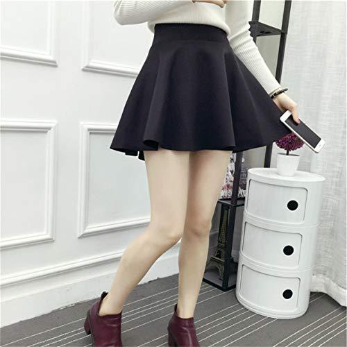 Banbie8409 Weiblicher hoch taillierter Mini-Faltenrock mit großem Swingrock A-Linienrock-schwarz-M