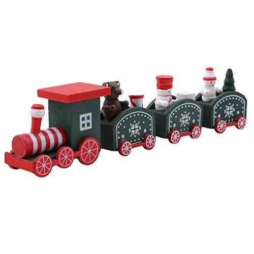 HENGSONG Petit Train en Bois Enfants Jouets de Noël Creative Cadeaux Décorations de Table de Noël,Vert