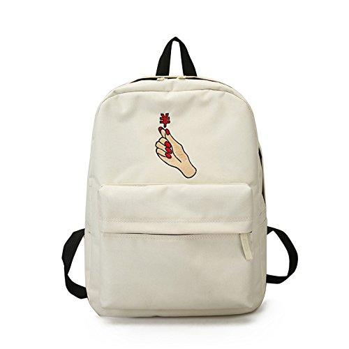 Sendgo Zaino da Donna Oxford Embroidery Zipper Bookbag Borsa da Viaggio Casual Shoulder Bags White Money