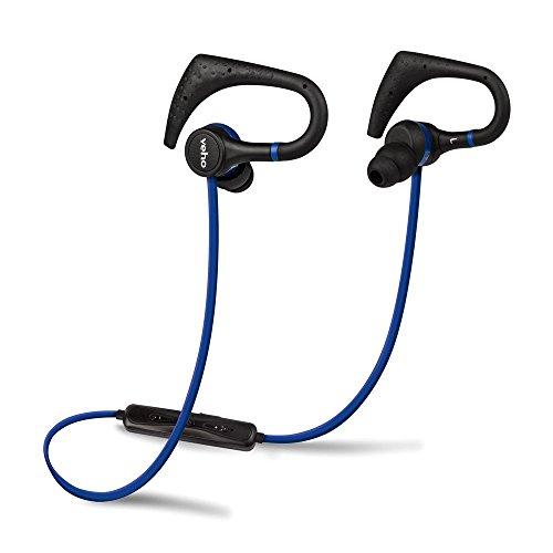 Veho VEP-007-ZB1 In-Ear Sport Drahtlose Bluetooth Kopfhörer mit Spielhaken/Mikrofon/Fernbedienung/Flex Anti-Tangle Kabel blau