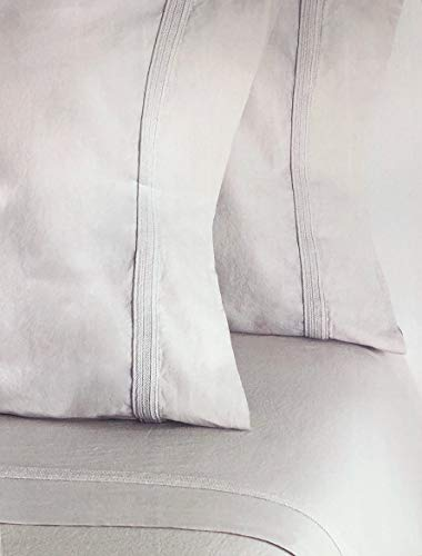Piubelle Solid Light Cloud Gray Sheet Set Shabby Chic French Country Style Embroidered Sewn Hemstitch Pattern 100% Cotton Luxury Made in Portugal (Queen)