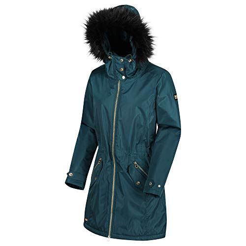Regatta Damen Lexia Waterproof & Breathable Thermo-Guard Insulated Faux Fur Hooded Outdoor Winter Parka Jacket Jacken wasserdicht isoliert, Blaugrün, M (14)