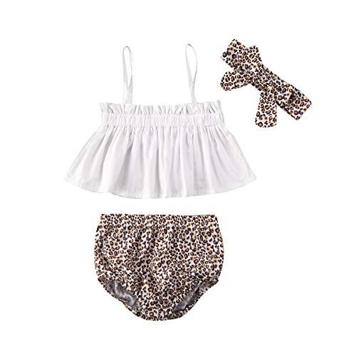 Hnyenmcko 3 Stks Pasgeboren Baby Meisjes Kleding Halter Jurk Romper Tops+ Luipaard Shorts + Hoofdband Zomer Outfits Set Sunsuit