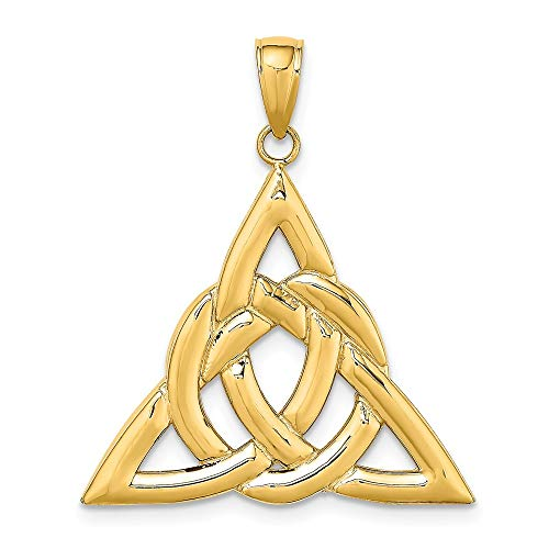 14k Yellow Gold Large Irish Claddagh Celtic Knot Trinity Pendant Charm Necklace Fine Jewelry For Women Gifts For Her