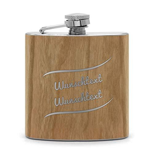 printplanet® - Holz Flachmann mit Name oder Text graviert - Schnaps-Flasche mit Namensgravur selbst gestalten - Motiv: Welle zweizeilig