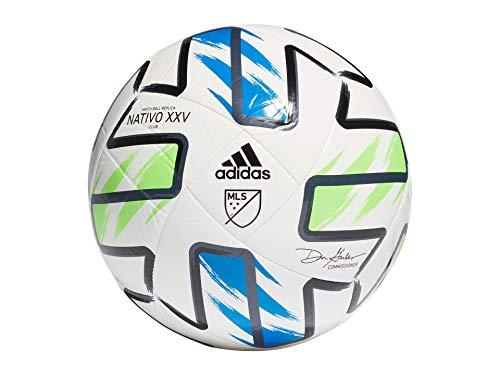 adidas MLS Nativo XXV Club Soccer Ball White/Solar Green/Glory Blue/Black 3