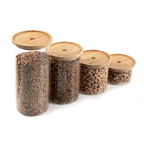Navaris Set de 4X Bote de Cristal con Tapa de bambú - Tarros para Almacenamiento de Alimentos Comida Pasta harina legumbres - Frascos para la Cocina