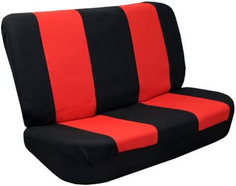 FH Group FB056010 Modern Flat Cloth Chicago Mall Bench Seat Covers Red Gorgeous Black